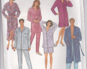 1990s Simplicity  Sewing Pattern No 8082  for Misses, Mens,  Teens Pyjamas, Robe, Nightshirt Size 42-48 LG-XL, Uncut Factory Folded