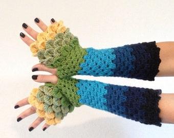READY TO SHIP - Dragon Scale Fingerless Gloves - yellow, green, teal, turquoise, blue, black wrist hand arm warmers women crochet khaleesi