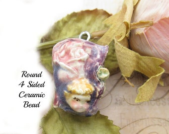 Focal Bead - necklace bead -  Ceramic Pendant -  OOAK bead - people bead - pendant bead -   # 157