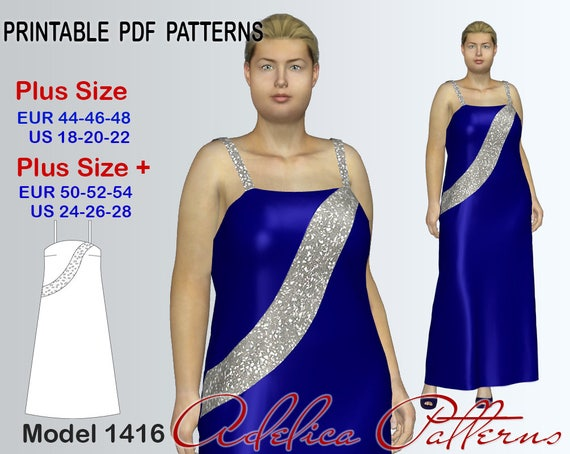 Plus Size Evening Dress Sewing Pattern For Sizes 18 28 Pdf