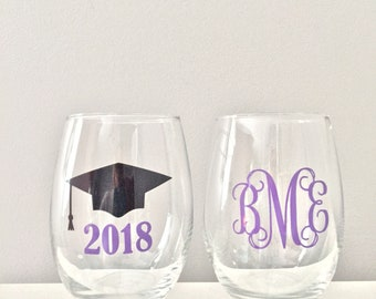 Graduation Gift, College Graduation Gift, Stemless Wine Glasses, Class of 2018, Wine Glasses for Graduation, Wine Glass for Graduate