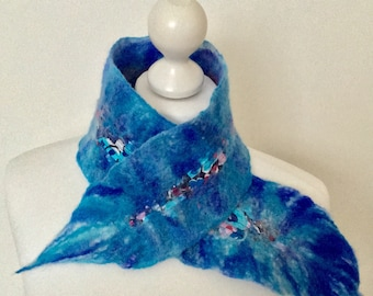 Merino Wool Little Scarf   Wool Felted Neck Warmer   Nuno Felted Little Scarf