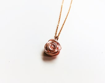 Rose Necklace, Rose Gold Necklace, Flower Necklace, Rose Pendant, Rose Shaped Necklace, Anniversary Gift, Bridesmaid Gift, Rose Collection