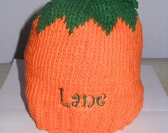 Personalized Handcrafted Pumpkin Knitted Infant hat