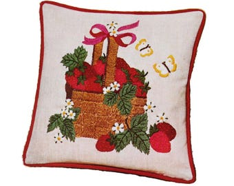 Crewel Pillow Kit - Vintage Avon Strawberry Pattern - Stamped for Embroidery Fabric & Wool Thread - Fruit / Butterflies / Summer Cushion