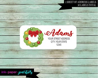 Holiday Christmas Wreath Return Address Gloss Labels ~ We Print and Mail to You