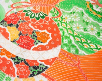 Lucky Bells on Orange and Green - Japanese Kimono Fabric