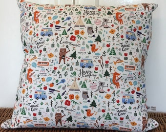 New Handmade Camping Fox Scandinavian Style Cushion/Pillow Cover. Made in Cornwall.