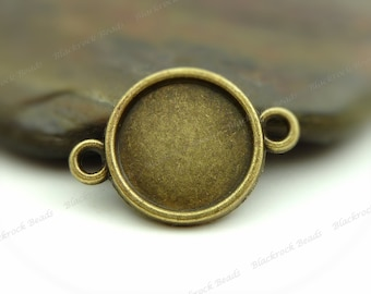 10 Cabochon Connector Settings Antique Bronze Tone - Fits 12mm Cab, Round Bezel Trays, Cameo Base, Pendant Blank, 2 Loops - BA36