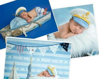 Newborn Baby Boy Set, Baby in Uniform, Baby Sailor Outfit, Nautical Crochet Set Infant Captain Hat, Newborn Naval Set Baby Officer, Ship Sea