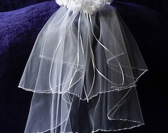 First Communion Veil with White Flowers, Tulle, and Ribbon Bow