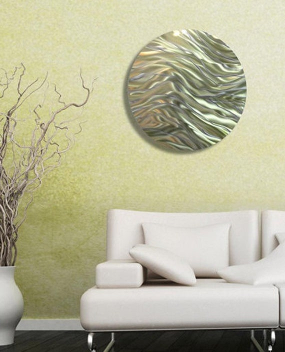 Reflective Gold & Green Circle Metal Accent Abstract Wall