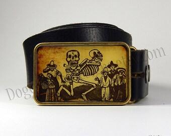 Belt Buckle Vintage Calaveras Belt Buckle Image Dia de los Muertos Day of the Dead Choice of Buckle Finish
