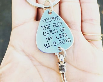 Gifts For Him Under Twenty Five, Catch Of My Life,Fishing Keychain, Boyfriend Gift, Fishing Lure, Personalized Lure, Love You More Than You