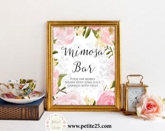 Pink Peony Bridal Shower sign, Mimosa Bar Sign, Watercolor Pink Roses, Classic Elegant Wedding, Printable Digital