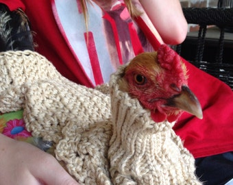 Chicken Sweater, Chickens, Hens, Sweaters, crochet, Turtleneck chicken sweater, beige