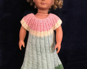 """Knitted Stripped Dress for 18"""" Doll"""