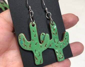 Ceramic Cactus Earrings w/ 14k Gold Accents