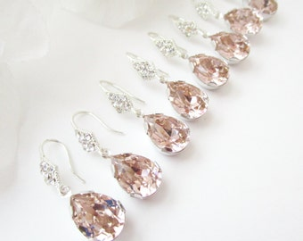 Bridesmaids Earrings Set of 9,Blush Crystal Earrings,Petal Pink,Blush,Pink Earrings,Pink Bridesmaid Earrings,Set of 9,Swarovski Crystal