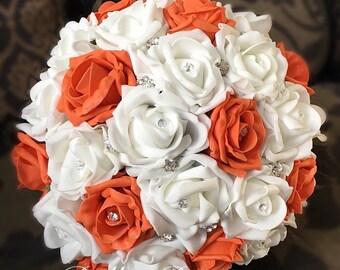 Autumn orange and white artificial brides sparkle bouquet