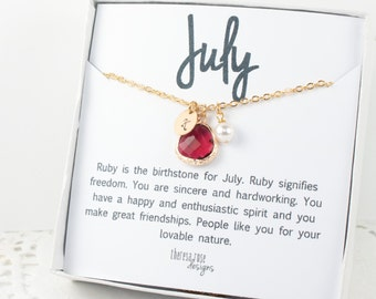 Personalized July Birthstone Gold Necklace, January Birthday Jewelry, July Birthday Jewelry, Personalized Gold Necklace #877