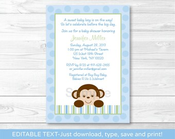 Cute Monkey Baby Shower Invitation / Monkey Baby Shower Invite / Blue Monkey Baby Shower Invite / INSTANT DOWNLOAD Editable PDF A414
