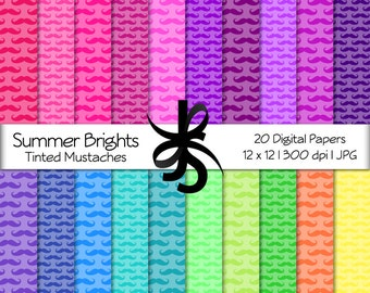 Digital Scrapbook Papers-Summer Brights Tinted Mustaches-Mustache Clipart-Backgrounds-Wallpaper-Printable-Instant Download Clip Art