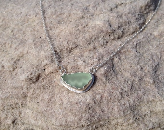 Green Sea Foam Sea Glass Necklace with Water Design made in Sterling Silver - Sea Glass Collection