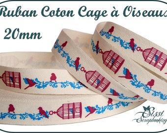 Ribbon 100% cotton BIRDCAGE has birds, romantic jewelry SCRAPBOOKING SCRAP 20mm