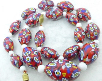 Vintage Art Deco Venetian Matched Millefiori Flower Cane Red Glass Bead Necklace