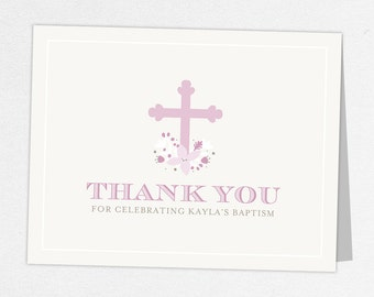 Baptism Thank You Card, Religious Thank You Card, Baby Thank You, Printable Thank You, Printed Thank You Cards, Cross, Floral, Purple, Kayla