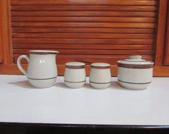 Vntg Sierra Stoneware Creamer Sugar Salt Pepper Set