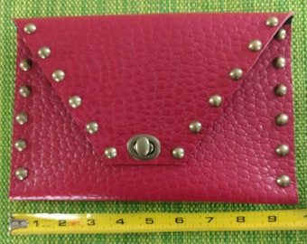 Red Embossed Finished Cowhide Leather Clutch
