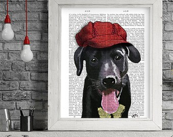 Cute black labrador picture labrador gift idea black lab - red hat - Black lab decor Black lab art print Black lab wall art labrador lover