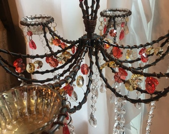 Large Bohemian style hanging candle holder, mixed colored crystals