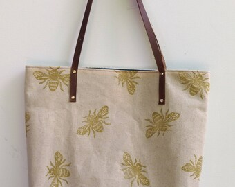 Waxed Canvas Tote: Bees