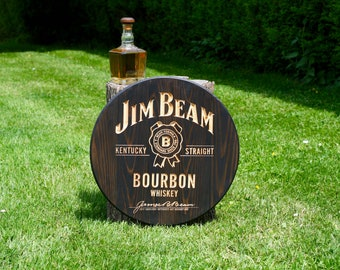 Vintage JIM BEAM Bourbon Whiskey, engraved wood panel