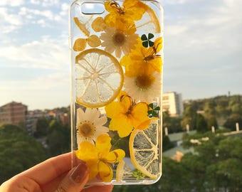 Handmade phone case/ pressed flower phone case/ pressed fruit phone case/ dried flower phone case/ iphone cases/ iphone 6, 6s/ 7, 7s plus