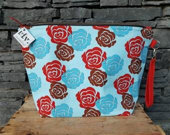 Project Bag | Knitting Bag | Knitting Project Bag | Zippered Project Bag | Wedge Bag | Sweater Knitting Bag | Blue Roses
