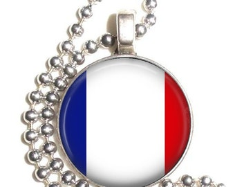 France Flag, Altered Art Pendant, Earrings and/or Keychain, Round Photo Silver and Resin Charm Jewelry, Flag Earrings, Flag Key Fob