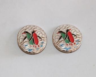 Vintage 1950s 50s original deadstock novelty penguin button earrings clip back