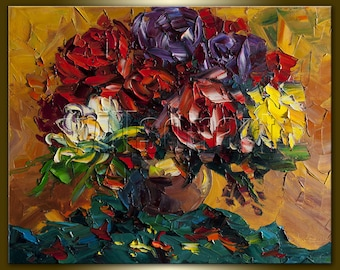Rose in a Vase Original Painting Oil on Canvas Floral Textured Palette Knife Contemporary Modern Art Rose 16X20 by Willson Lau