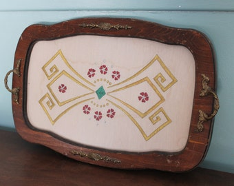 vintage lace embroidery 18.5 X 12 serving tray,wood with glass covered tray,embroidery cloth insert,VCG Mid Century