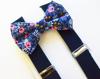 Navy Flower Bow Tie and Navy Suspender Set !! for toddler/ boy/ baby/Teen/Adult/Men