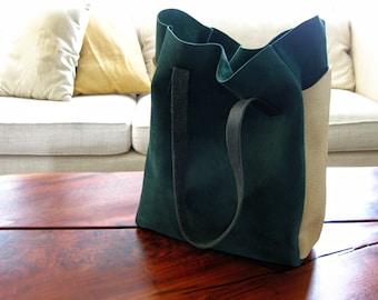 Relaxed Tote - Deep Teal Suede & Bone bull hide - Laptop bag, Shoulder bag