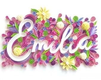 Custom Name Art / Framed Name Art / Quilling Art/ Nursery decor / Wall decor / Nursery Hanging/personalized decor