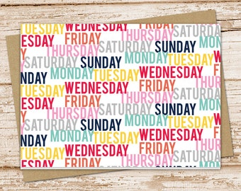 notecard set . blank note cards . days of the week . folded stationery . today stationary . set of 6