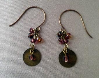 Brass Dangling Earrings with Purple Beads