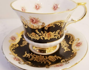 PARAGON Pembroke Fine Bone China Tea Cup and Saucer / Black and Gold with Rose Flowers / Tea party