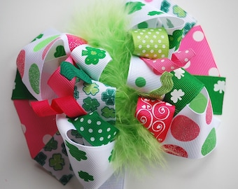 boutique FUNKY fun ST PATTYS green and pink polka dots hair bow clip
